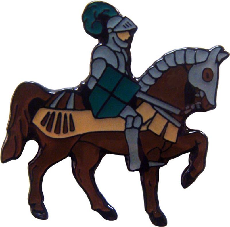 Knight on Horse with Green Shield Lapel Pin