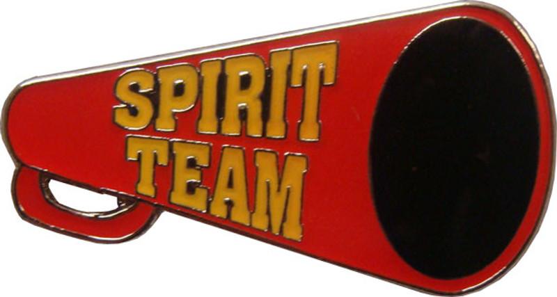 Spirit Team Red Megaphone with Yellow (nickel) Lapel Pin