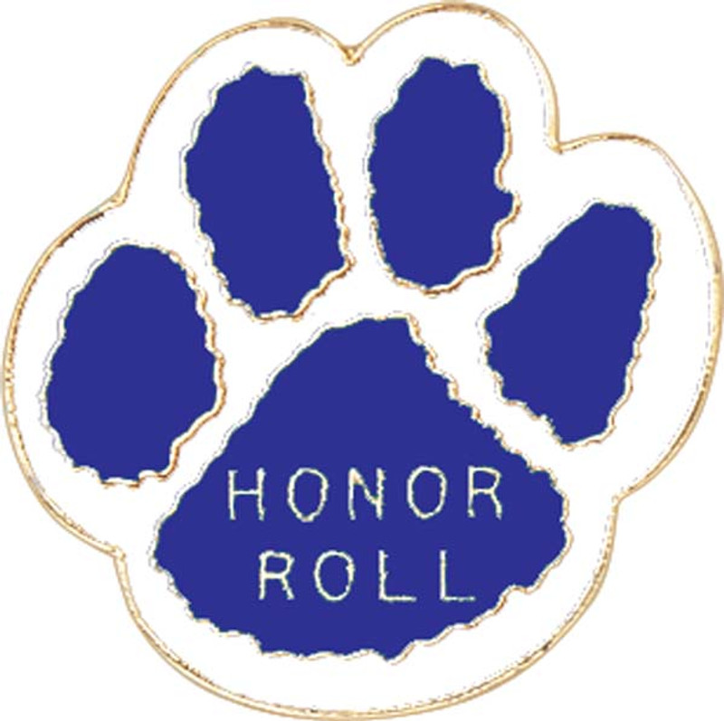 Paw Print - Honor Roll (blue/white) Lapel Pin