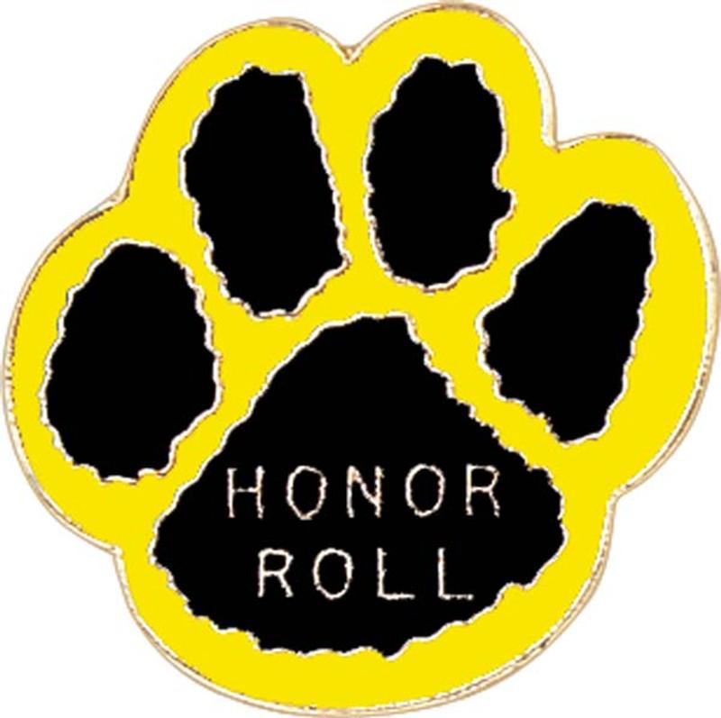 Paw Print - Honor Roll (black/yellow) Lapel Pin