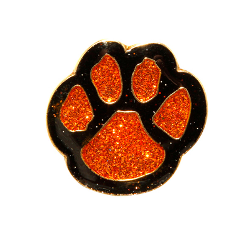 Paw Print - Glitter (orange/black) Lapel Pin