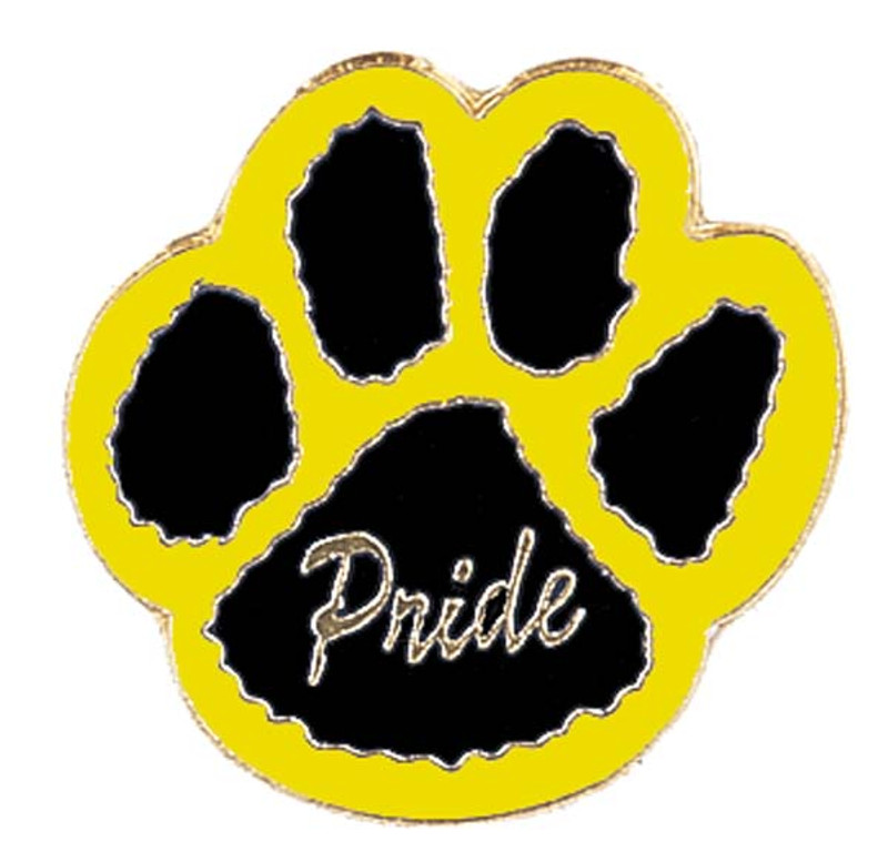 Paw Print - Pride (black/yellow) Lapel Pin