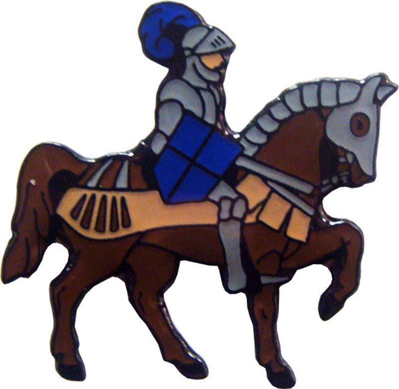 Knight on Horse with Blue Shield Lapel Pin