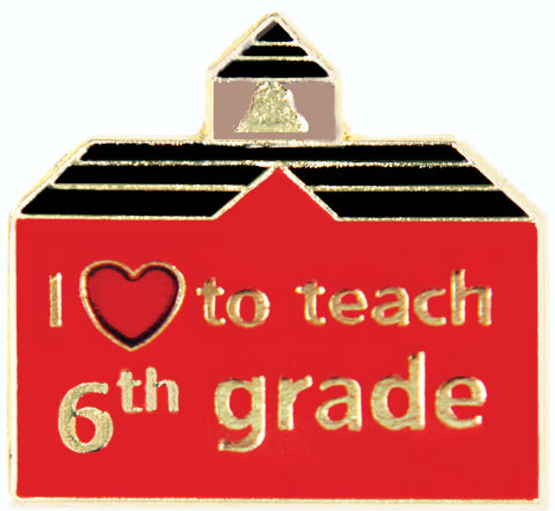 I (heart) to teach 6th grade Lapel Pin