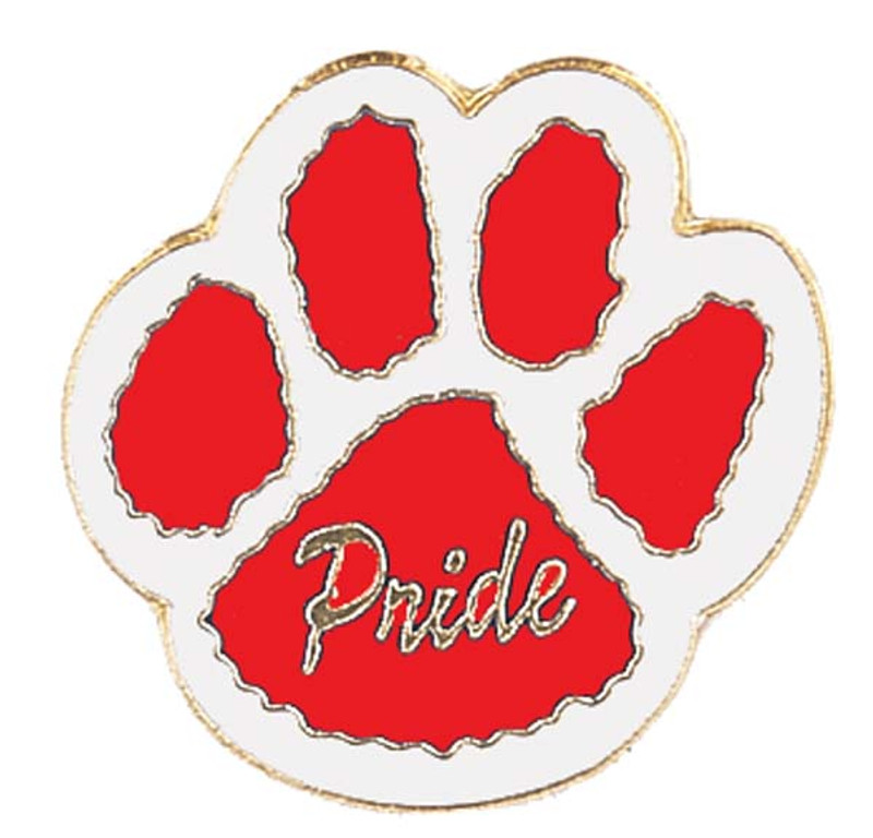 Paw Print - Pride (red/white) Lapel Pin
