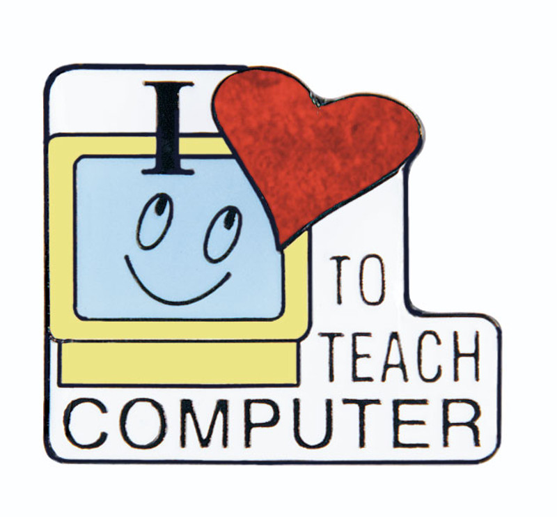 I (heart) to Teach Computer Lapel Pin