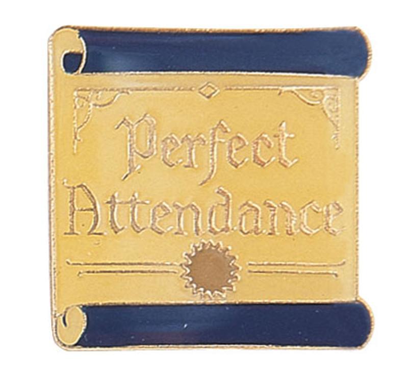 Perfect Attendance on scroll Lapel Pin