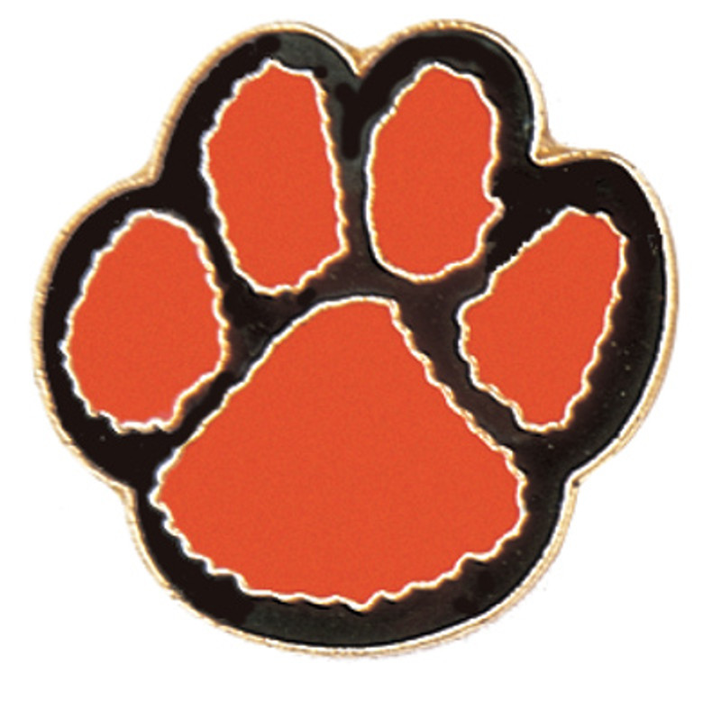 Paw Print (orange/black) Lapel Pin