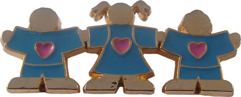 Three Children Holding Hands (turquoise) Lapel Pin