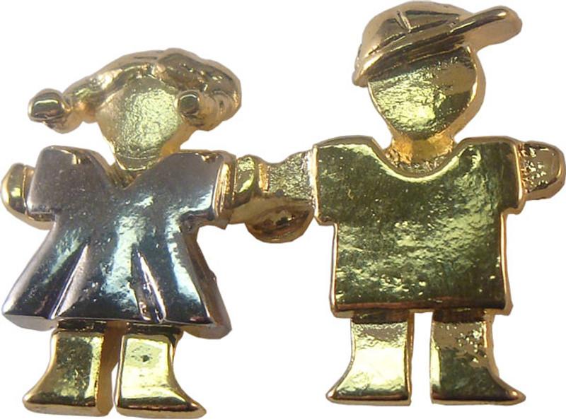 Boy & Girl (gold/silver) Lapel Pin