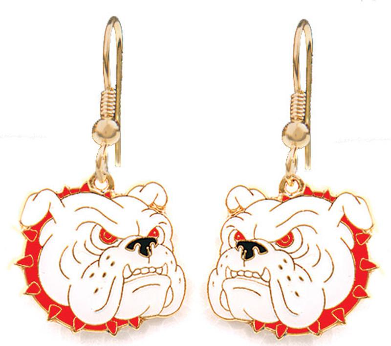 Bulldog Earrings, Red Collar