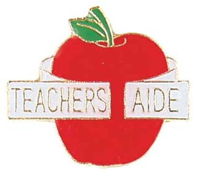 "Apple with ""Teachers Aide"" ribbon Lapel Pin"