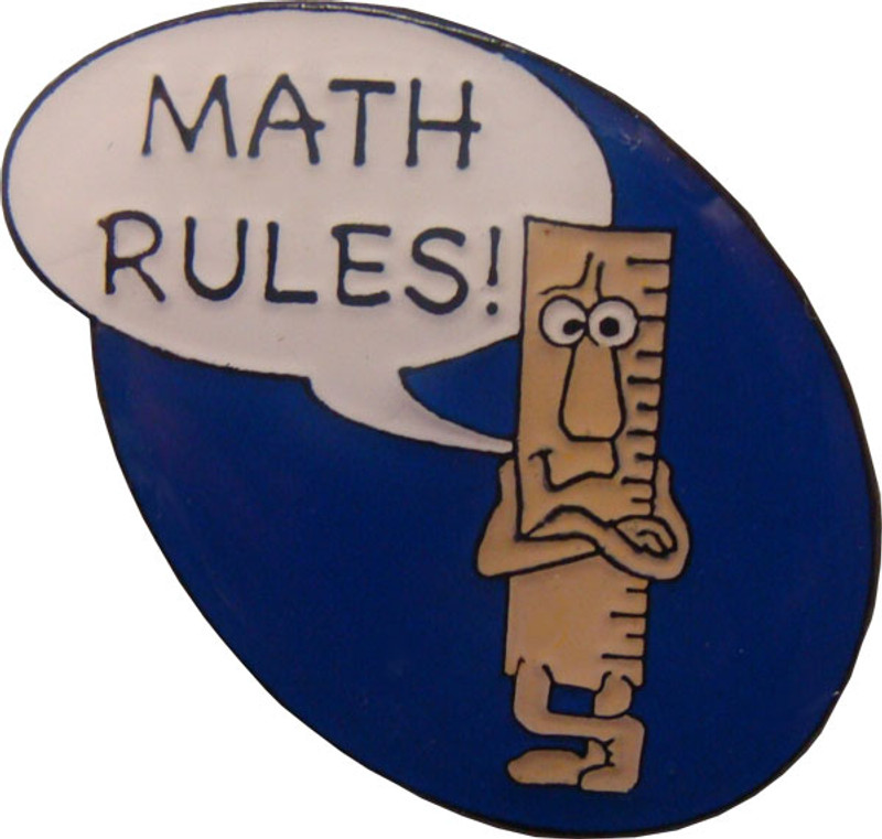 Math Rules! Lapel Pin (blue)