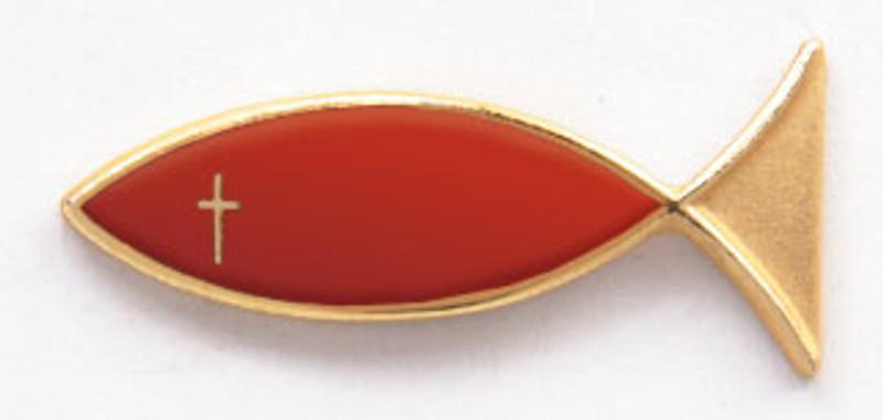 Golden Apple Christian Fish Lapel Pin