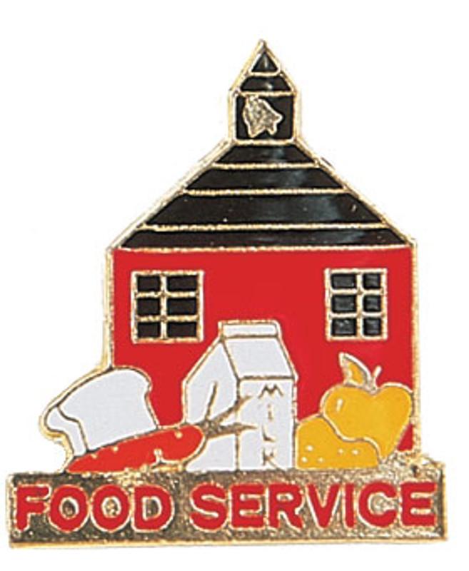 Food Service w/school house Lapel Pin