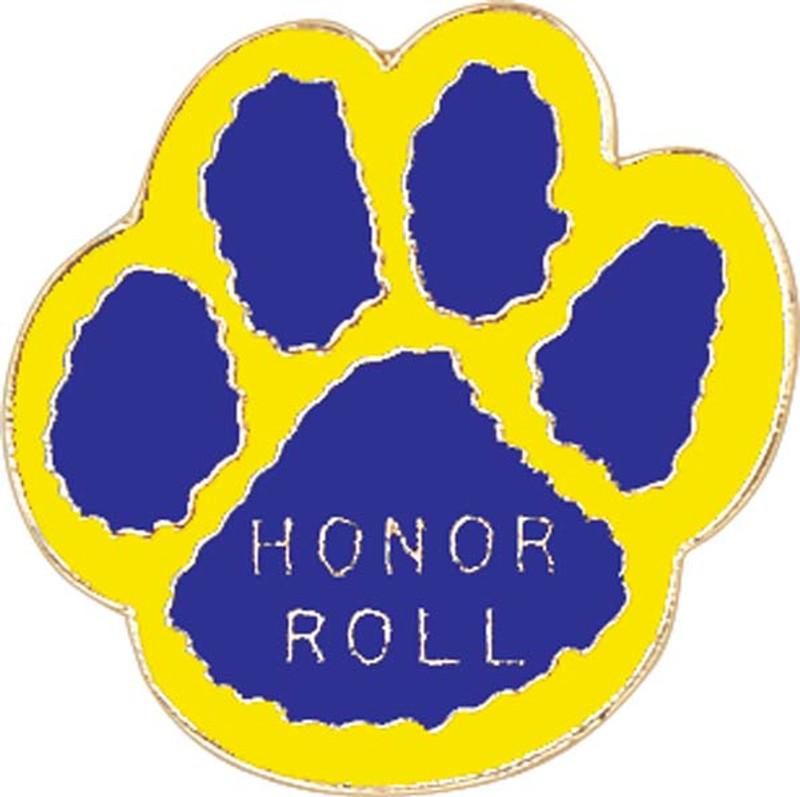 Paw Print - Honor Roll (blue/yellow) Lapel Pin