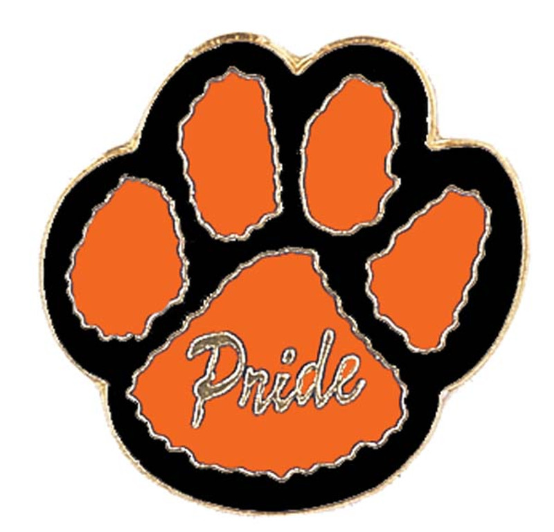 Paw Print - Pride (orange/black) Lapel Pin