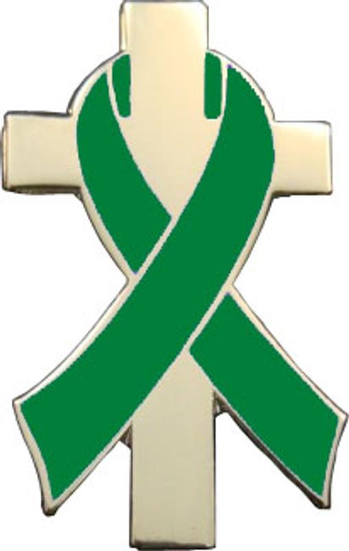 Green Awareness Ribbon Lapel Pin