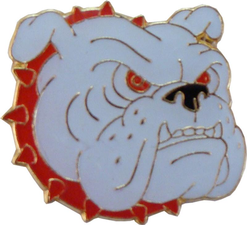 Bulldog with Red Collar Lapel Pin