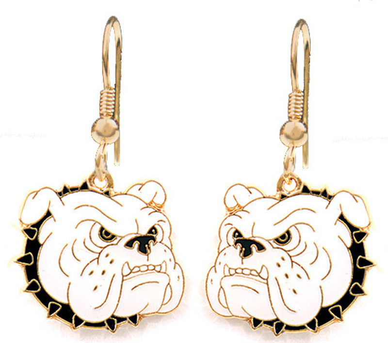 Bulldog Earrings, Black Collar