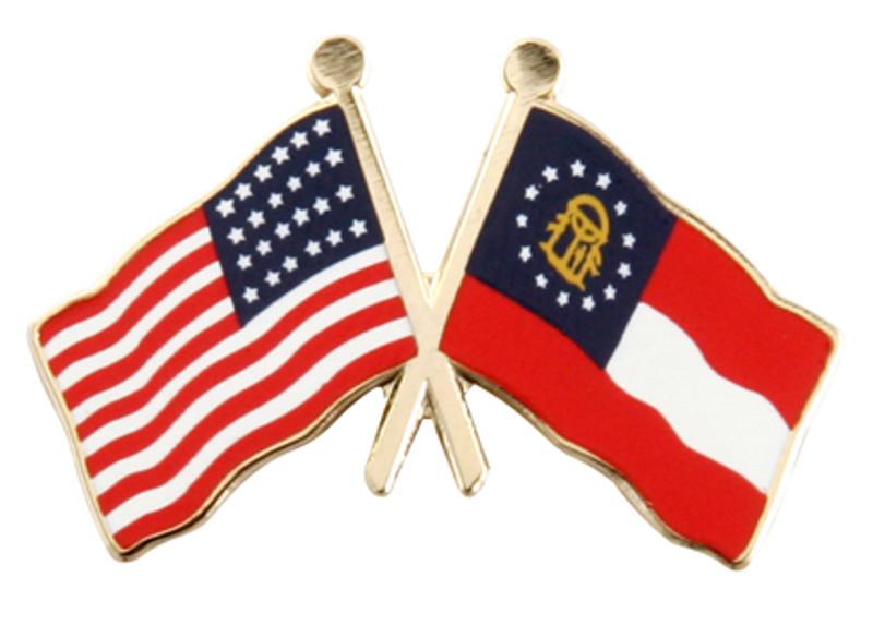 Flag Combo USA-Georgia (gold) Lapel Pin