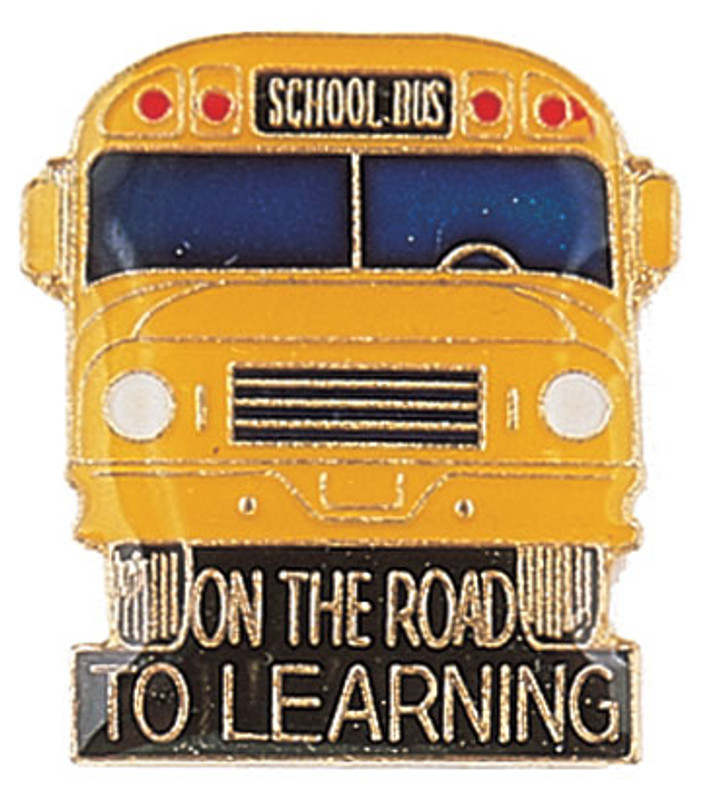 On the Road to Learning Bus Lapel Pin