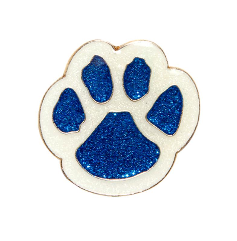 Paw Print - Glitter (blue/white) Lapel Pin