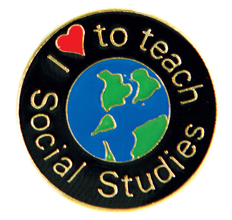 I (heart) to teach Social Studies Lapel Pin