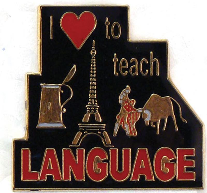 I  (heart) to Teach Language Lapel Pin
