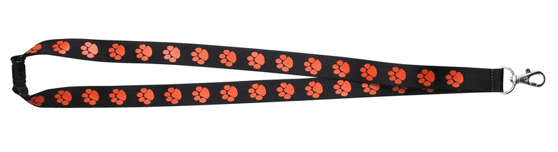 Paw Print Lanyard Black w/Orange Paw