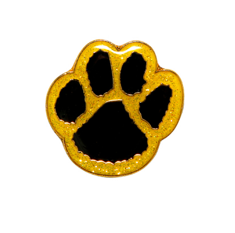 Paw Print - Glitter (black/yellow) Lapel Pin