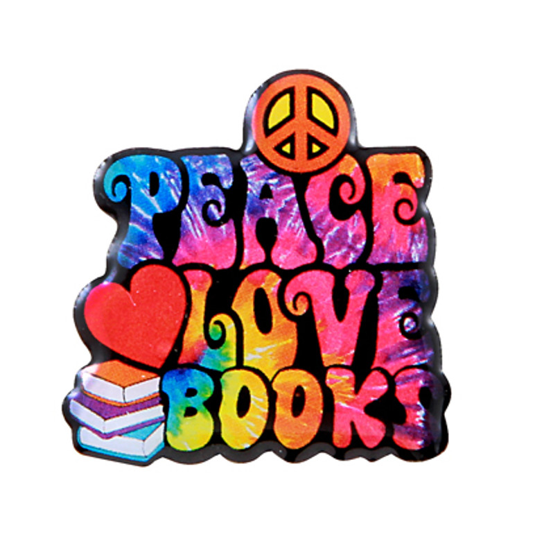 Peace, Love, Books Lapel Pin