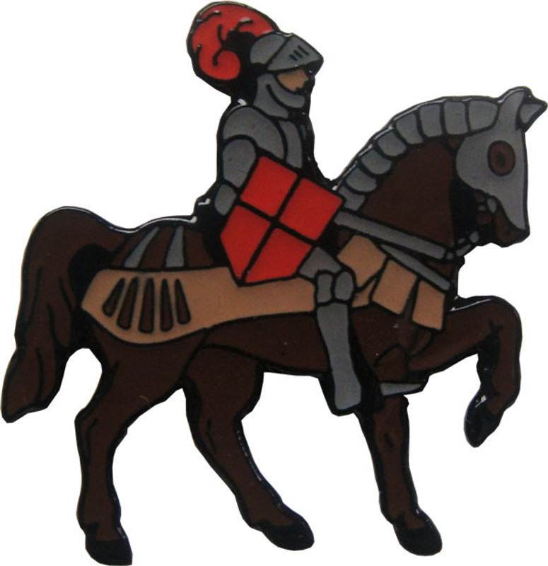 Knight on Horse with Red Shield Lapel Pin