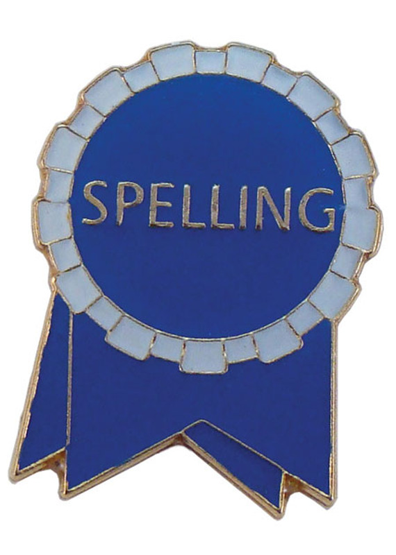 Spelling Ribbon (blue/white) Lapel Pin