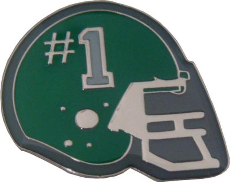 Helmet with #1 (Green) Lapel Pin