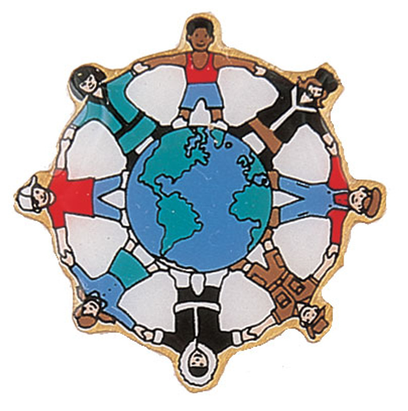 Globe With Children Lapel Pin