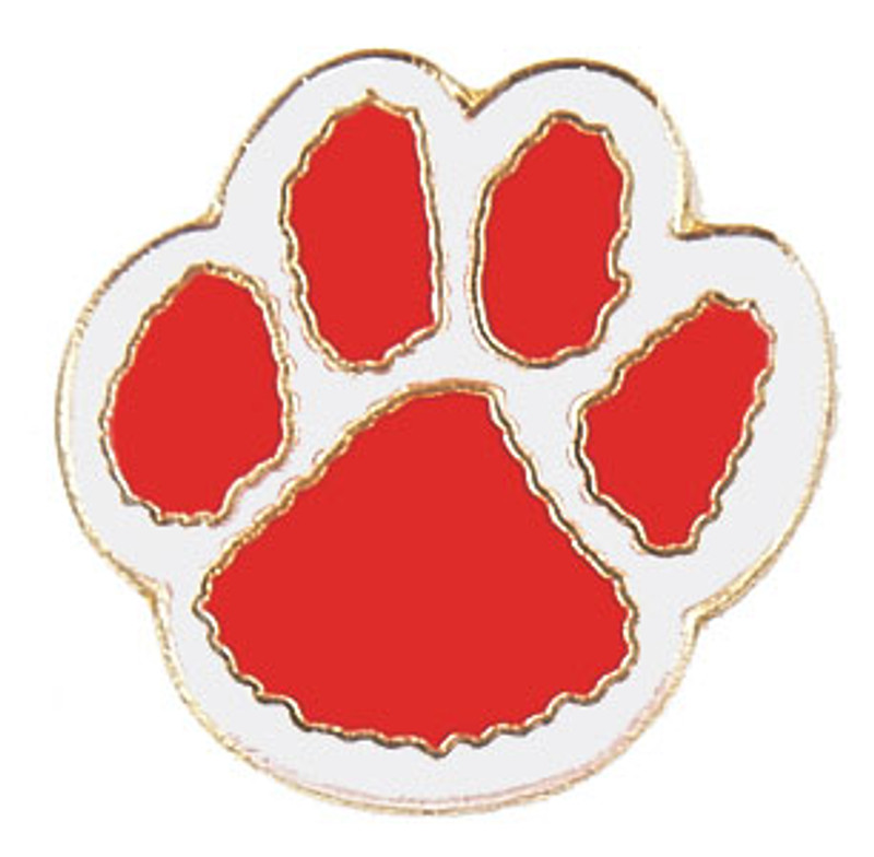 Paw Print (red/white) Lapel Pin