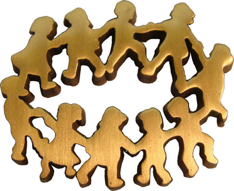 Children in Circle - Antique Gold Lapel Pin