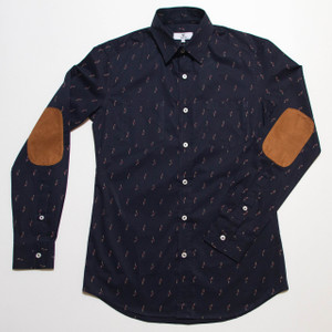 The Nicholas Button-Up - Navy Blue with Birds front
