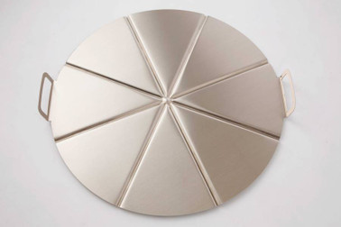 GI METAL Aluminum Tray Ø50Cm, Pleated Handles, 8 Portions. Stackable