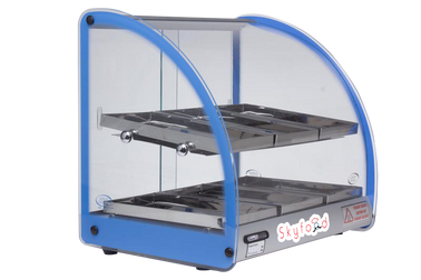 SKYFOOD 18'' FOOD WARMER DISPLAY CASE - DOUBLE SHELF - BLUE