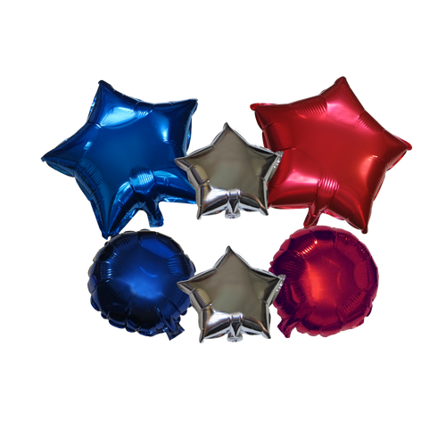 Mixed Shapes Mylar Balloons Red Blue Silver 6 Pieces Set