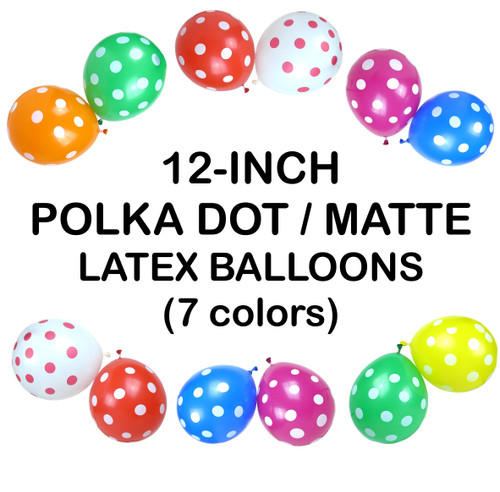 12 Inch Polka Dot Latex Balloons (5 ct) - 7 colors