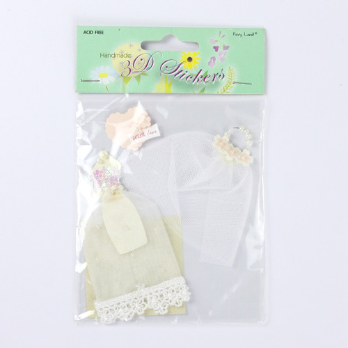 Handmade 3D Stickers - Wedding gown & Veil