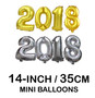 """Mini 14"""" Number Balloons (Gold/ Silver 2018)"""