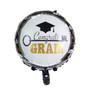 17 inch Round Grad Balloon in Black White (Congrats)
