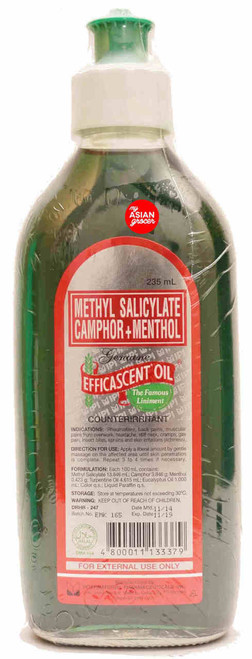 Methyl Salicylate Camphor + Menthol Genuine Efficascent Oil 235ml