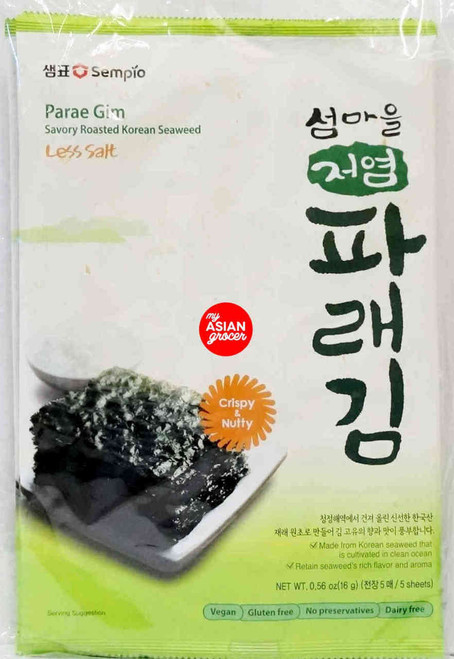 Sempio Parae Gim Savory Roasted Korean Seaweed 16g x 4 Pack