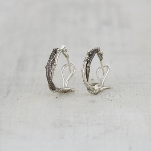 Entwined twig hoop earrings