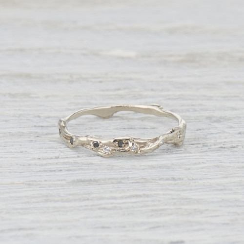 black diamond twig wedding ring